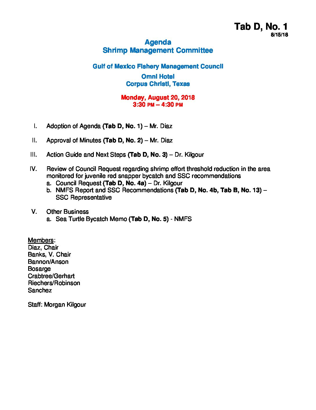 D – 1 Shrimp Committee Agenda August – Gulf of Mexico Fishery