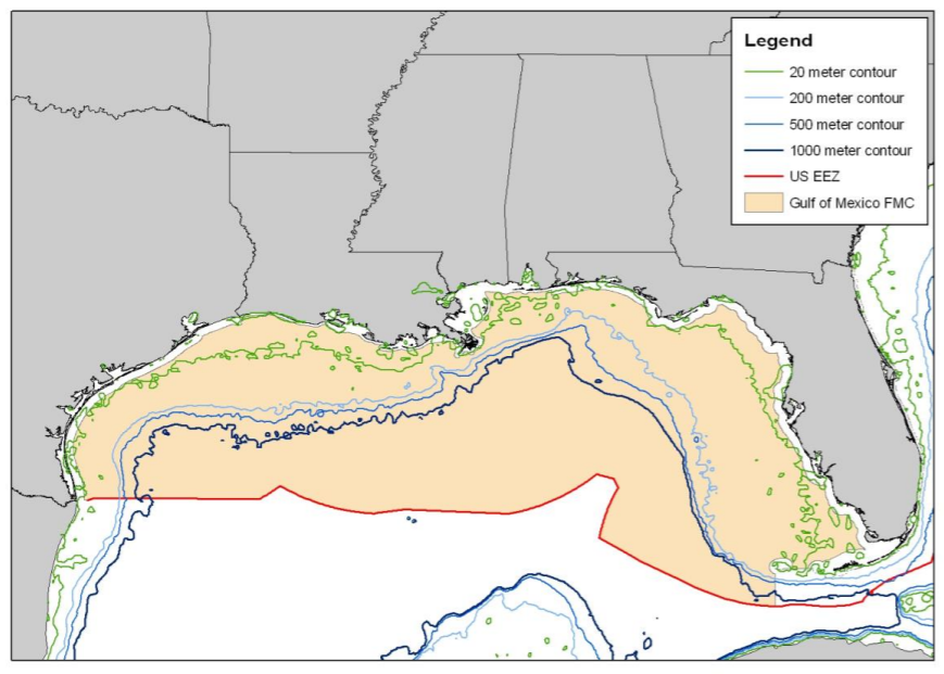 Map Vermilion and Greater Amberjack Boundaries